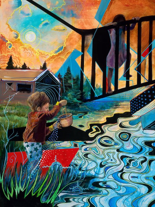 Rights of the Child by Moira Villiard, acrylic. Villaird is exhibiting her work at the Zeitgeist Arts Cafe in downtown Duluth.