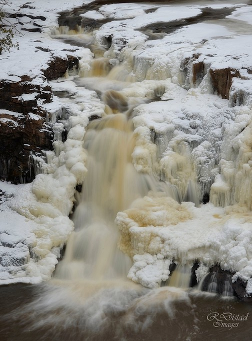 Goosberry Falls is frozen by Roxanne Distad.