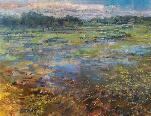 """Wet,"" painting by Greg Lecker is one of tne of the paintings currently on exhibit at Tettegouche State Park."