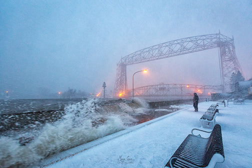 The waves crashed over the pier in Duluth and spray froze on the Lift Bridge gears. It was closed for a day and ships were rerouted to the Superior, Wis. entrance.