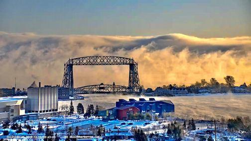 Sea smoke in Duluth by Mark Tarello.