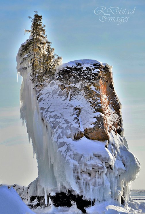 Honoring the Sea Stack that collapsed into Lake Superior during the storm by Roxanne Distad.