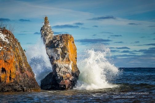 My tribute to the Sea Stack at Tettegouche State Park by Susanne von Schroeder.