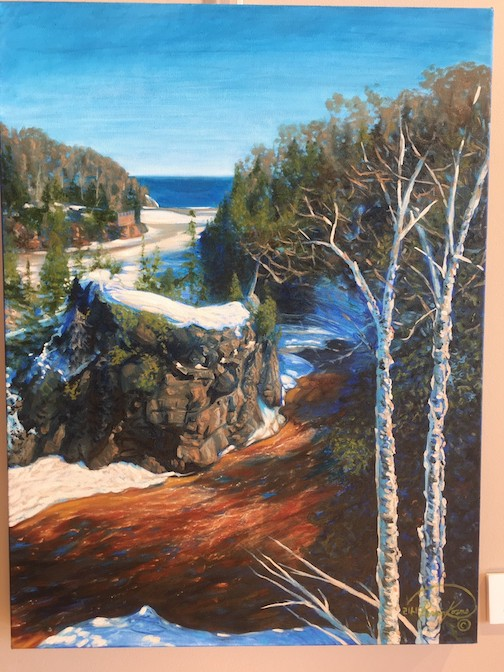 Painting by Lisa Kosmo. She is opening an exhibit at Tettegouche State Park on Friday.