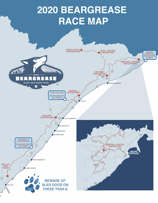 Map of the John Beargrease Sled Dog Marathon. Note that the Beargrease 40 ends in Two Harbors, the Beargrease 120 ends at Trestle Inn and the Marathon ends in Grand Portage.