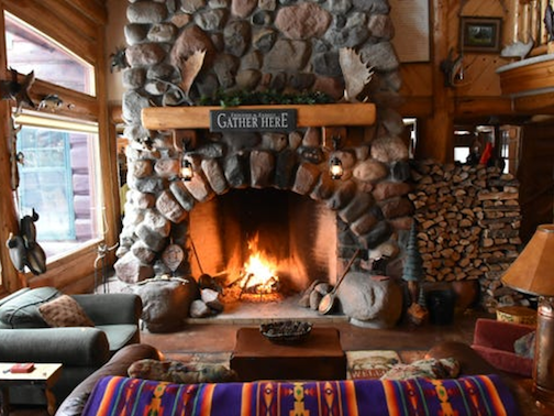 This fireplace at Big Bear Lodge is one of the fireplaces that will be on the tour during the Hygge Festival.