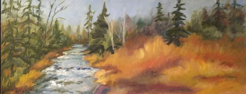 Painting by Kat Corrigan. She is exhibit at Tettegouche State Park through the end of February.
