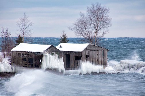 Fishing Shacks on Lake Superior by Mike Chrun.