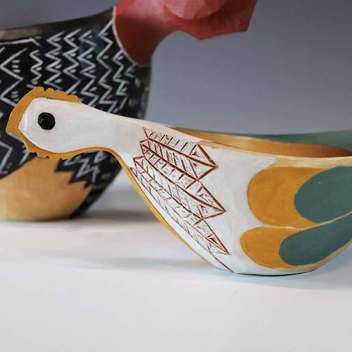 A bird bowl by Mike Loeffler. His exhibit at North House Folk School continues through Jan. 13.