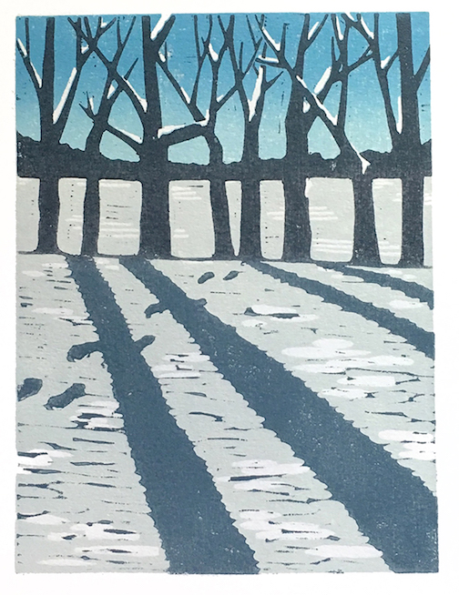 First Snow by Nan Onkka. Onkka is currently exhibiting her work at the North Shore Winery.