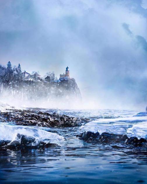 Split Rock and sea smoke by Preston Buechler.