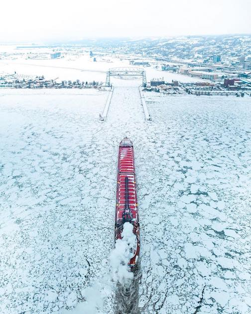 The last ship of the season, the James Oberstar, makes its way into the Duluth Entry for winter layup. Photo by Preston Buechler.
