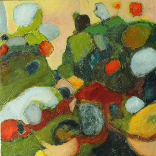 """""""Rock People"""" by Jane Johnson is one of the paintings currently on view in the Great Hall at Tettegouche State Park."""