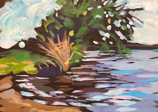 Nokomis, Small Beach by Kat Corrigan. She is exhibiting her work at Tettegouche State Park this month.