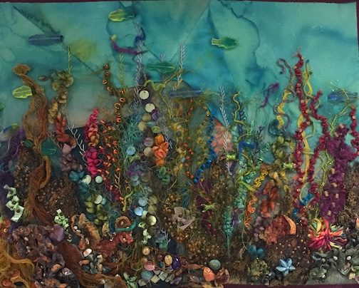 """""""Charting the Depths of Ephemeral Visions"""" by Cheryl Larsen, multi-media, is one of the pieces in the Northwoods Fiber Guild's exhibit at the Cook County Courthouse."""