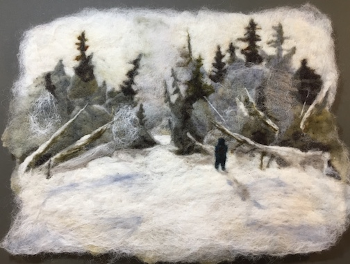Sigurd Olson Narrows, felted wool, by Elise Kylo.