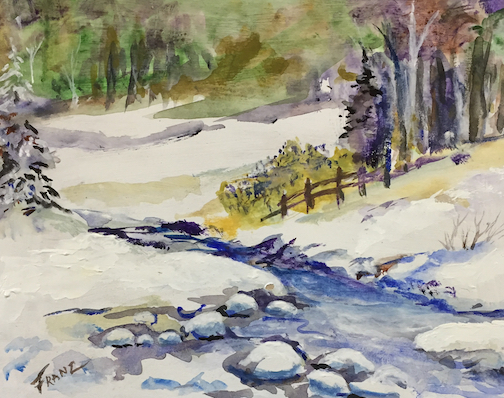 """""""Winter Stream"""" by John Franz is one of the paintings at the Johnson Heritage Post."""