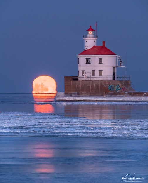 Full moon rise and Wisconsin Point by Ken Harmon.