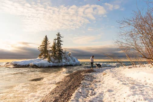 Morning walks by the Big Lake are best. Photo courtesy of the Lake Superior Trading Post.
