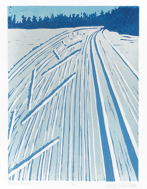 """""""Fresh Tracks,"""" print by Nan Onkka. She is exhibiting her work at the North Shore Winery this winter."""