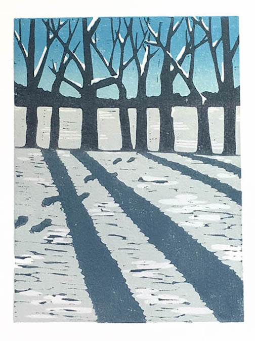 """First Snow."" Print by Nan Onkka. She is currently exhibiting her work at the North Shore Winery."