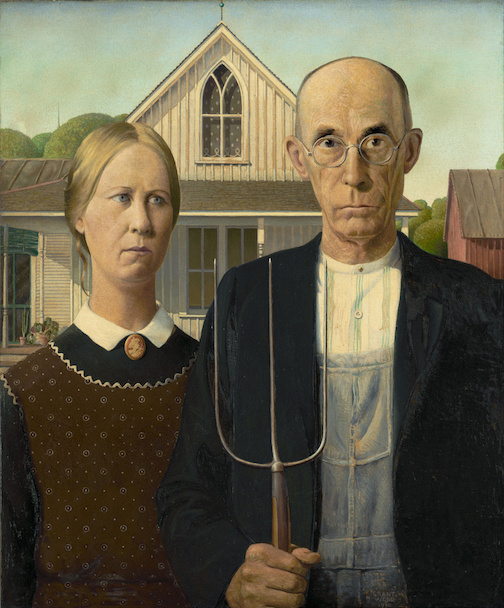 """Grant Wood's """"American Gothic"""" is one of the paintings on view through the Art Institute of Chicago's Open Culture page."""