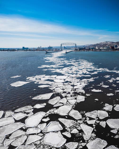 Ice leaving the harbor in Duluth by Nathan Klok.