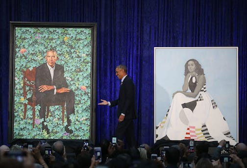 The Smithsonian has set up a virtual tour of its portrait gallery. Seen here are the portraits of former President Barack Obama and First Lady Michele Obama.