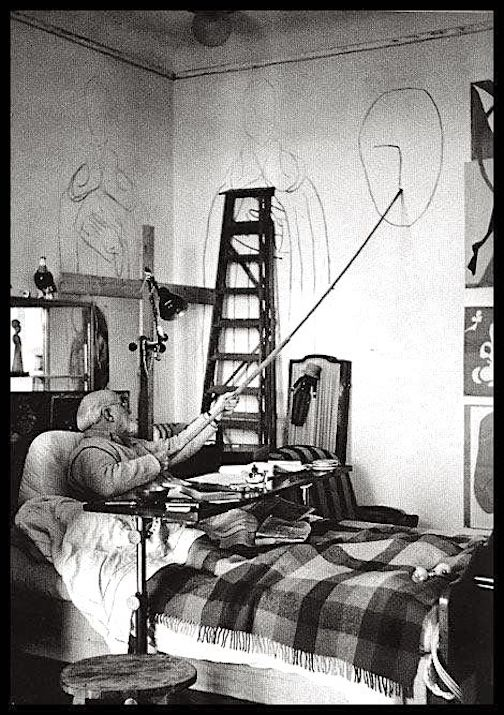 Henri Matisse in bed with the flu. Photo courtesy of the Academy of Art Creativity Consciousness.