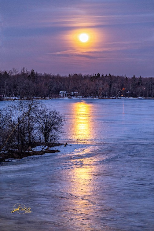 Moon over the St. Louis River in Fond du Lac by Jamie Rabold.