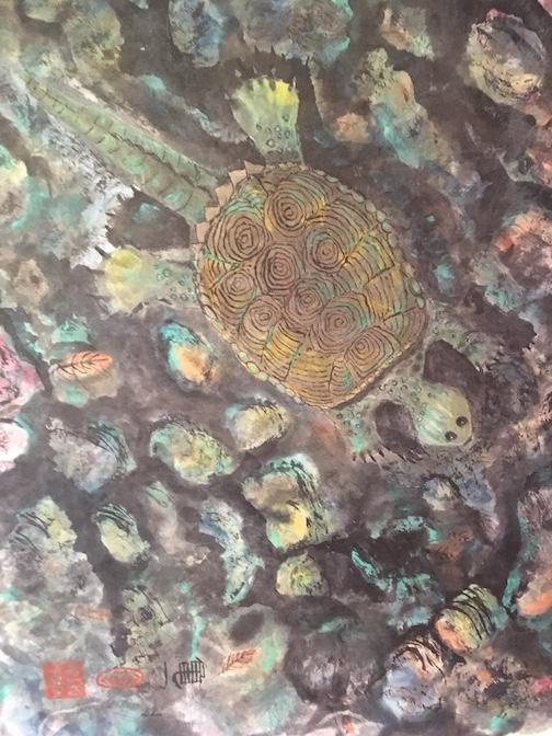 Chelydros, sumi-e painting, by Tom McCann.