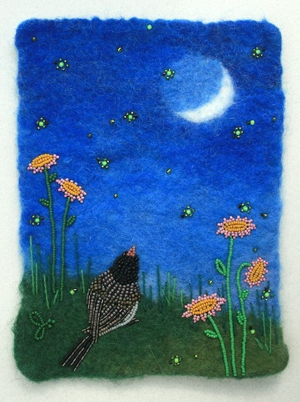 Watching Fireflies, bead embroidery on wet-felted wool, by Jo Wood.