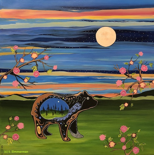 "Oginiiwaatig Makwa under the Iskigamizige-giizis"" (Rosebush Bear under the maple sap evaporating moon) by Sgp Zimmerman."