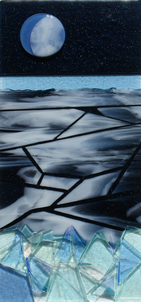 """Lake Superior Icescape,: kiln-worked glass by Sharon Frykman."