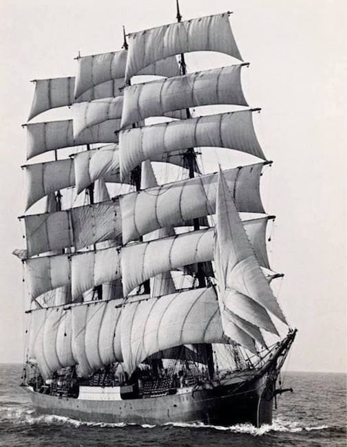 The world's last commercial sailing ship, The Pamir, rounding Cape Horn for the last time in 1949.