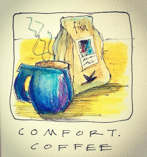Comfort. Coffee. Hand-delivered by the roaster. Mmmmm. by Betsy Bowen.