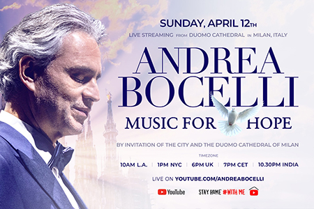 """Andrea Bocelli will give a virtual concert, """"Music for Hope"""" in a cathedral in Milan on Easter Sunday."""