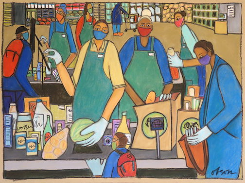 Grocery Store Cashier Bagger--Essential Worker 1 by Carolyn Olson,