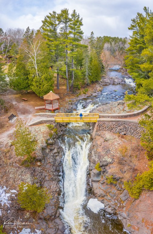 Bridge over the falls--Amity Creek, Duluth by Ken Harmon.