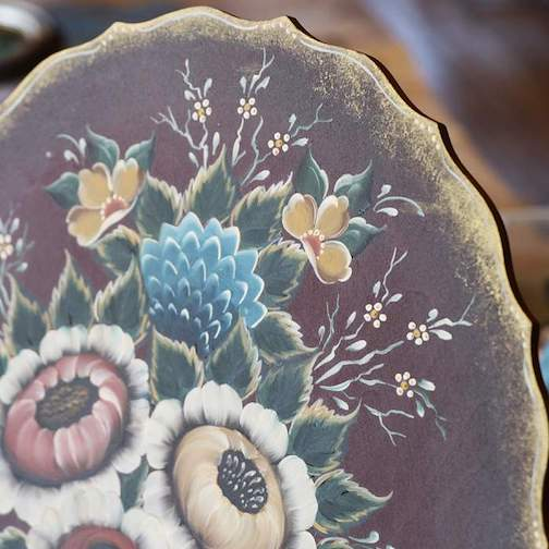 Kim Garret will talk about rosemaling techniques in an online video on Thursday. Pictured is a piece in the Valdres style.