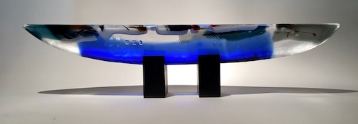 Fused glass boat by Lee Ross.