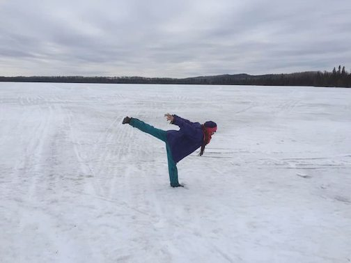 A yoga pose and an ice-covered lake by Maryl Skinner.