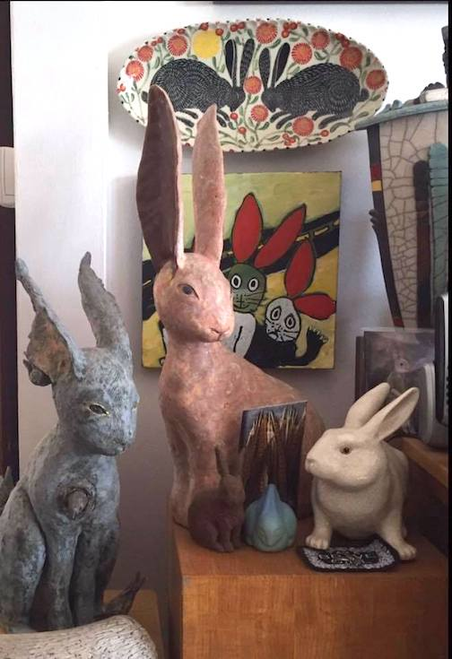 Happy Spring! Here's our bunny connection: A group of our bunnies Platter Sue Terrill Two long-eared rabbits Robin Murphy White rabbit unknown Small blue bunny  VanBriggle Small brown rabbit unknown Startled Rabbits painting Adu Gindy