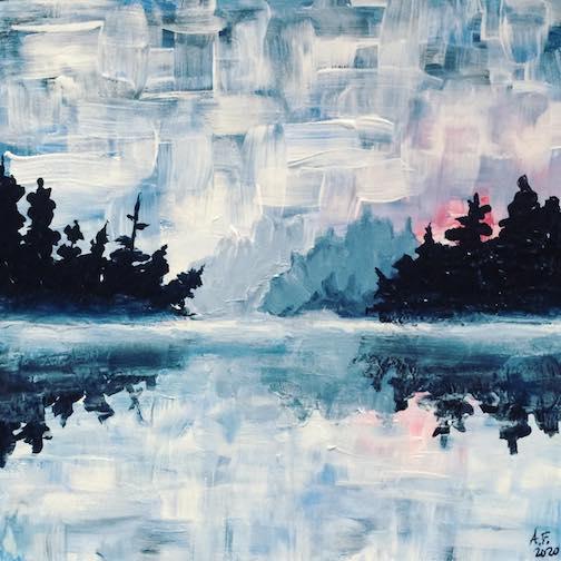 """""""Misty Morning at Sawbill Lake Narrows"""" by Amy Freeman."""