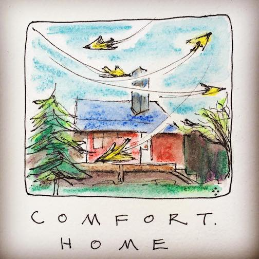 """Comfort. Home with birds. My lovely friends, or so I imagine"" by Betsy Bowen."