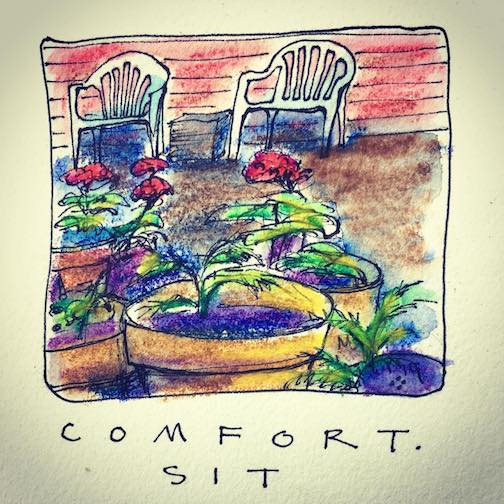 """Comfort. Sit. Stay."" by Betsy Bowen."