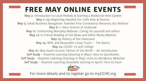 Here is the list of free May online events offered by Cook County Higher Education.