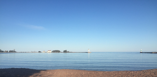 Lake Superior and the Grand Marais Harbor.
