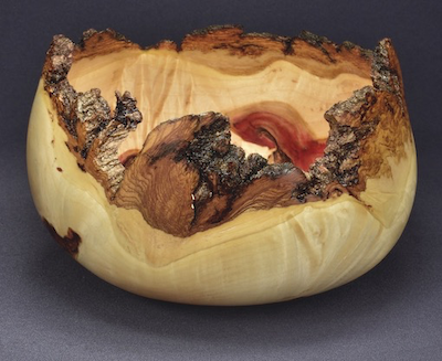 Lou Pignolet is giving away this rustic box elder burl bowl this month. To find out how to win it, see below.