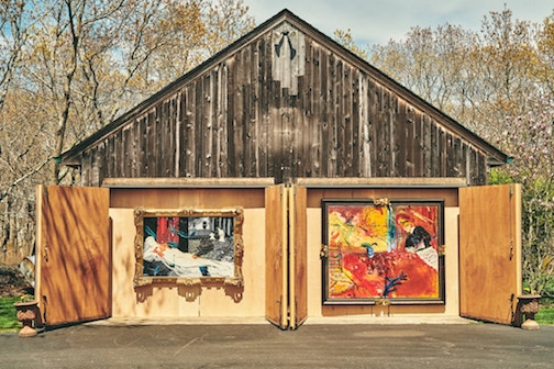 Drive-by Art Show on Long Island featured these paintings by Darius Yektal. Photograph courtesy of the New York Times.